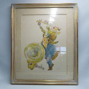 Vintage Accents - Vintage Clown & Puppy Dog Framed Signed Wall Art